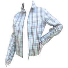 Burberry Golf Blue Nova Plaid Zippered Women's Cotton Sports Jacket 21st C