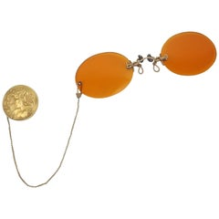 Early 1900's Pince Nez Sunglasses With Art Nouveau Fob Brooch