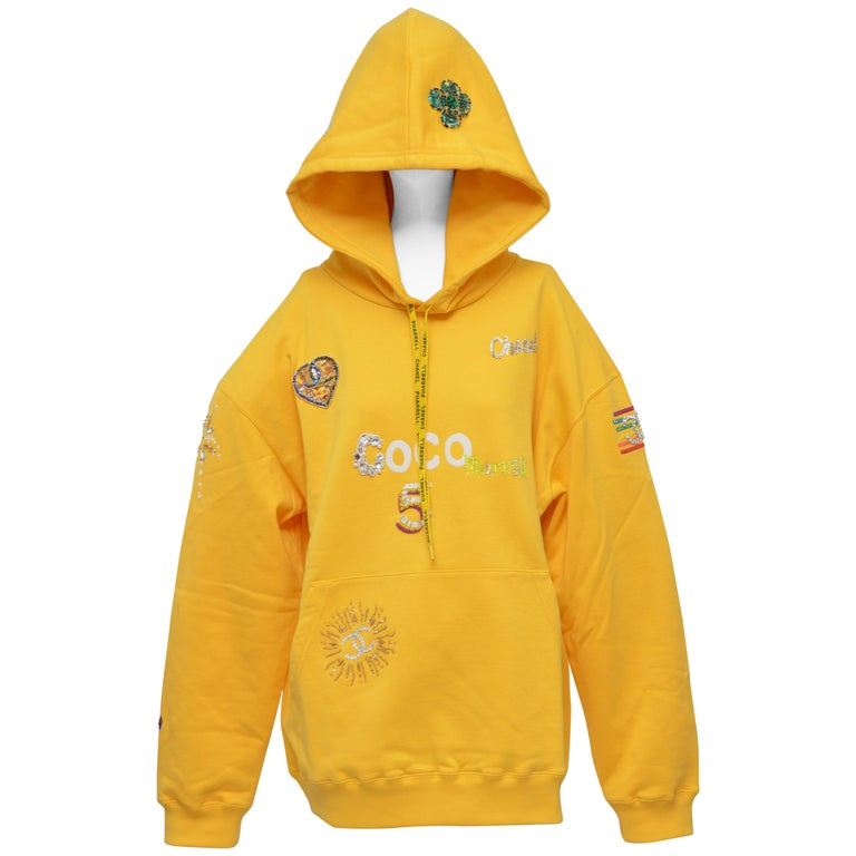 Chanel x Pharrell Capsule Collection Hoodie  Lesage Embroidery Yellow  L NEW For Sale