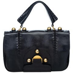 Fendi Black  Leather Satchel Italy w/ This item does not come with inclusions.