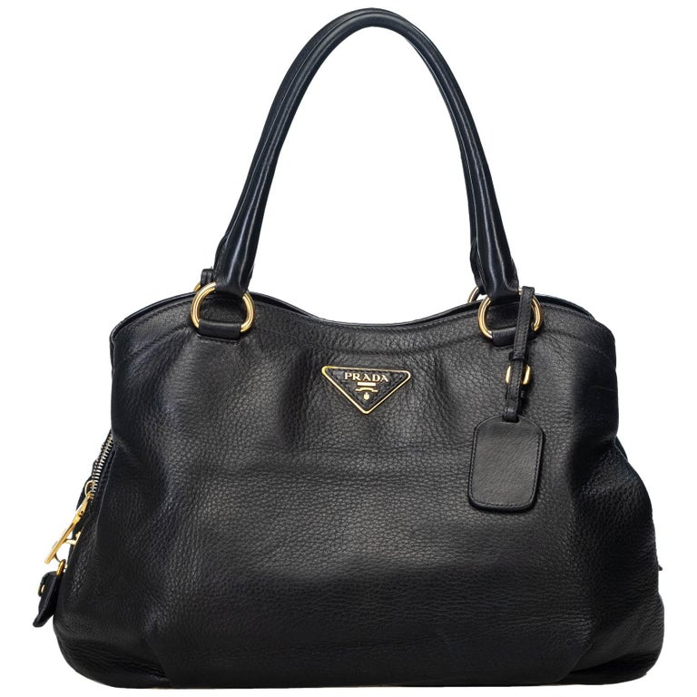 805afc3d3b2656 Prada Black Leather Vitello Daino Handbag Italy w/ PadlockKeyPadlockKey For  Sale