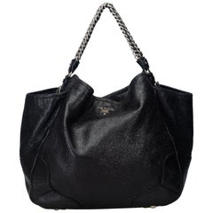 Prada Black  Leather Cervo Lux Chain Tote Bag Italy w/ Dust Bag