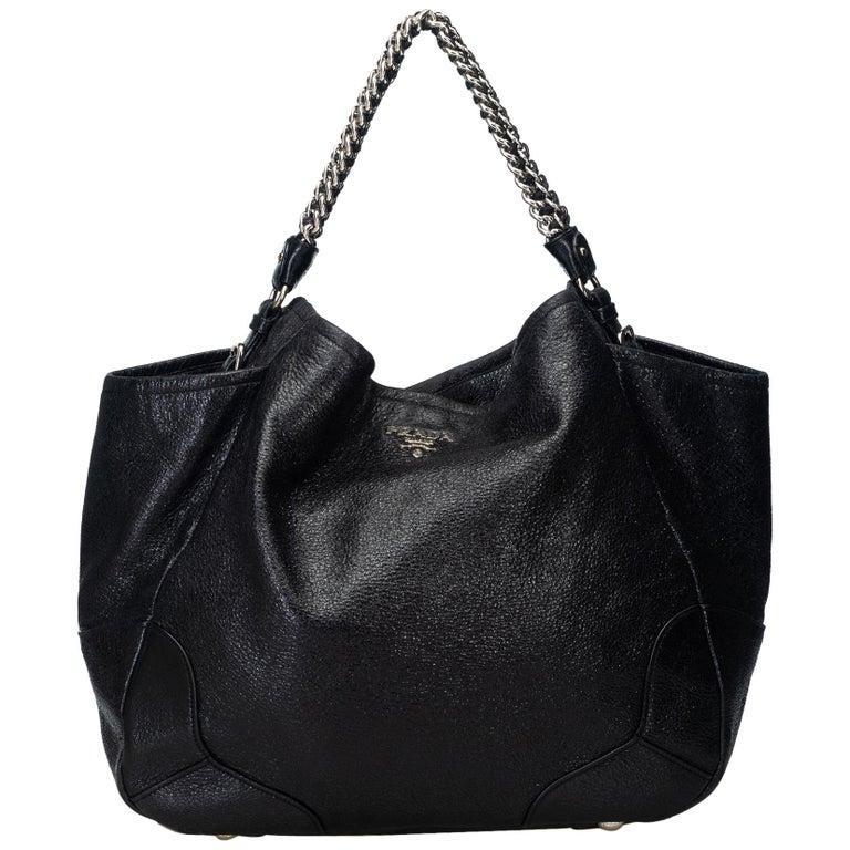 b2f30af6f807 Prada Black Leather Cervo Lux Chain Tote Bag Italy w  Dust Bag For Sale