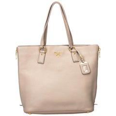 Prada Brown Beige Leather Vitello Daino Tote Bag Italy