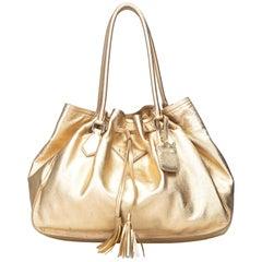 Prada Gold  Leather Metallic Tassel Tote Bag Italy