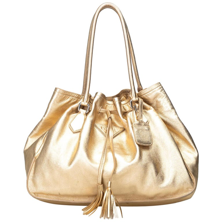 837e44164e6178 Prada Gold Leather Metallic Tassel Tote Bag Italy For Sale at 1stdibs