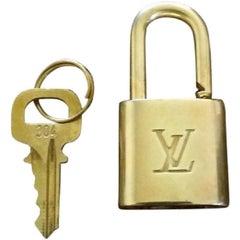 Louis Vuitton Gold Single Key Lock Pad Lock and Key 867706