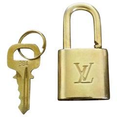Louis Vuitton Gold Single Key Lock Pad Lock and Key 867723