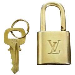 Louis Vuitton Gold Single Key Lock Pad Lock and Key 867726