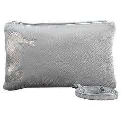 Le Moki Light Blu Leather Shoulder Handle Bag