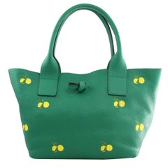Le Moki Green Leather Handle Shoulder Bag