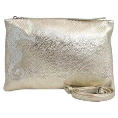 Le Moki Gold Leather Shoulder Handle Bag