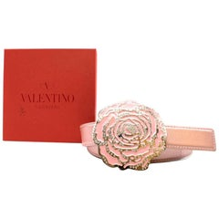 Valentino Metallic Pink Flower Buckle Belt