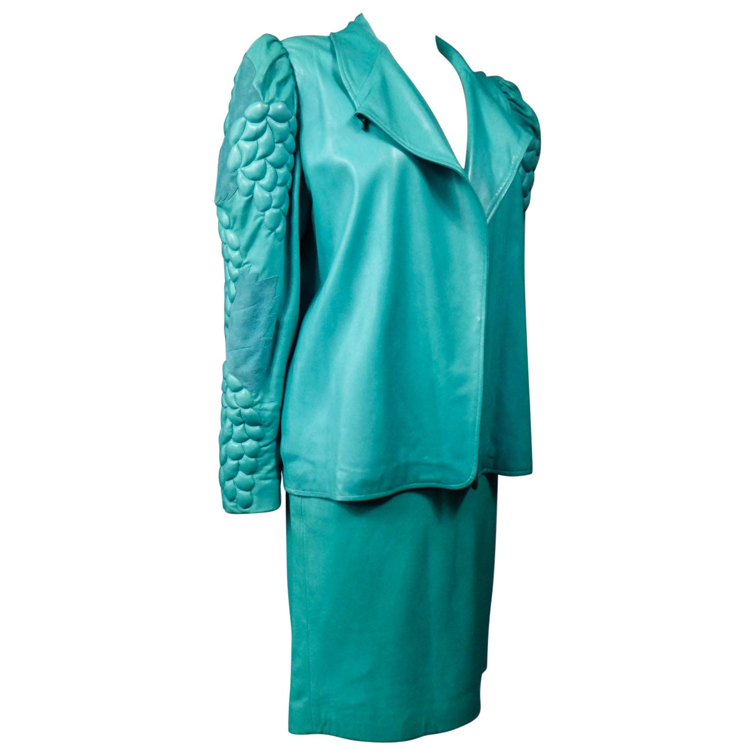 Jean-Claude Jitrois Skirt and Jacket in Turquoise Leather Fall 1985/1986