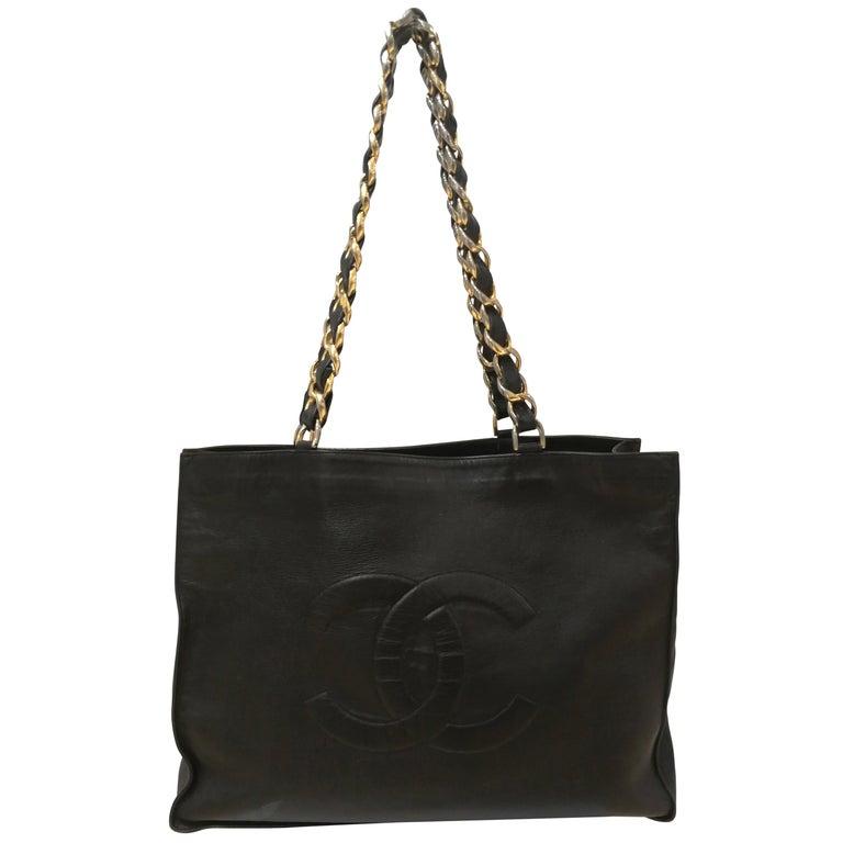 Chanel Black Leather Shopper Bag