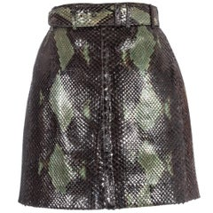 Azzedine Alaia green snakeskin lace-up mini skirt with matching belt, ss 1991