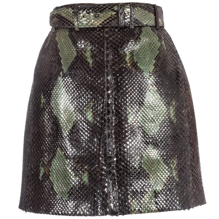 Azzedine Alaia green snakeskin lace-up mini skirt with matching belt, ss 1991 For Sale