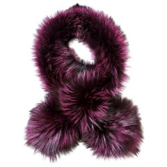 Verheyen London Lapel Cross-through Collar in Deep Amethyst  Fox Fur & Silk