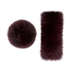 Verheyen London Large Snap on Fox Fur Cuffs in Burgundy - New