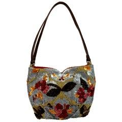 1990s Jamin Puech Gray Floral Multicolor Leather Sequin Embellished Shoulder Bag