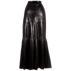 Azzedine Alaia black leather skirt with pleated mermaid hem, c. 1999