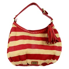 1990s Moschino Cheap and Chic Stripped Red and Beige Raffia Leather Shoulder Bag