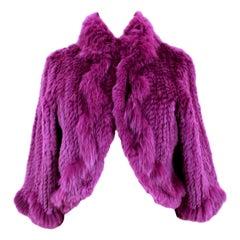 2000s Blumarine Purple Fur Fox Jacket Short Bolero