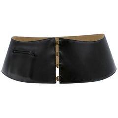 Alaia Black Wide Leather Waist Belt
