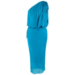 Lanvin Turquoise One-Shoulder Silk Dress US 6