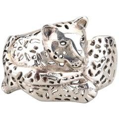 Mexico Modernist Los Castillos Sterling Jaguar Cuff Bracelet by Emilia Castillo