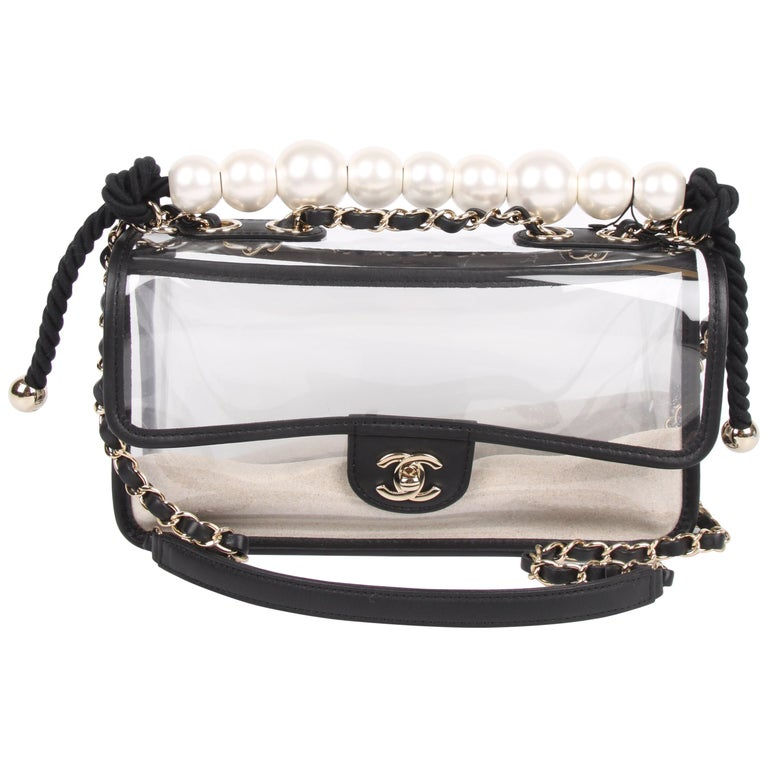 Chanel See-Through Sand Flap Bag - black For Sale