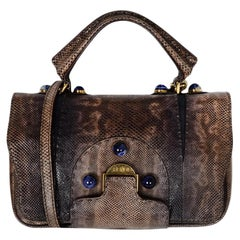 Fendi Brown Karung Snakeskin Secret Code Satchel Bag W/ Blue Lapis Stones