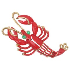 Trifari Red & Gold Lobster Brooch With Green Eyes, 1960's