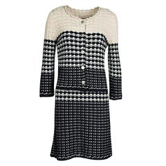 Chanel Navy Blue and Beige Knit Dress and Cardigan Set M