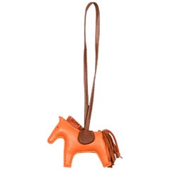 Hermes Orange Leather Small Rodeo Bag Charm