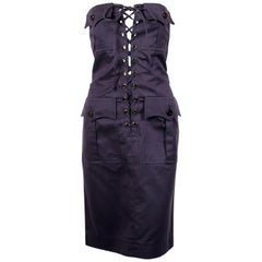 1990's YVES SAINT LAURENT rive gauche navy strapless safari dress