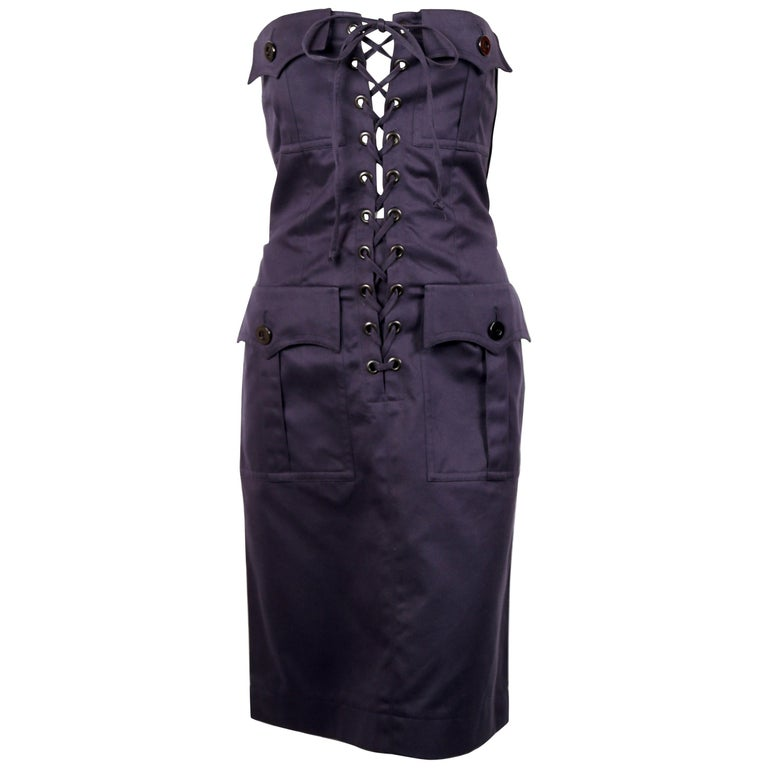 1990's YVES SAINT LAURENT rive gauche navy strapless safari dress For Sale