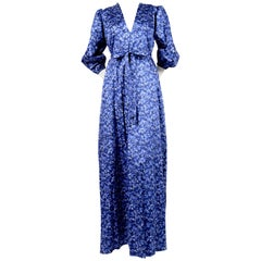 1970's YVES SAINT LAURENT blue floral printed maxi dress