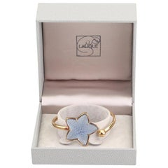 Modernist Lalique Blue Crystal Starfish Bracelet-Inspired by Nature