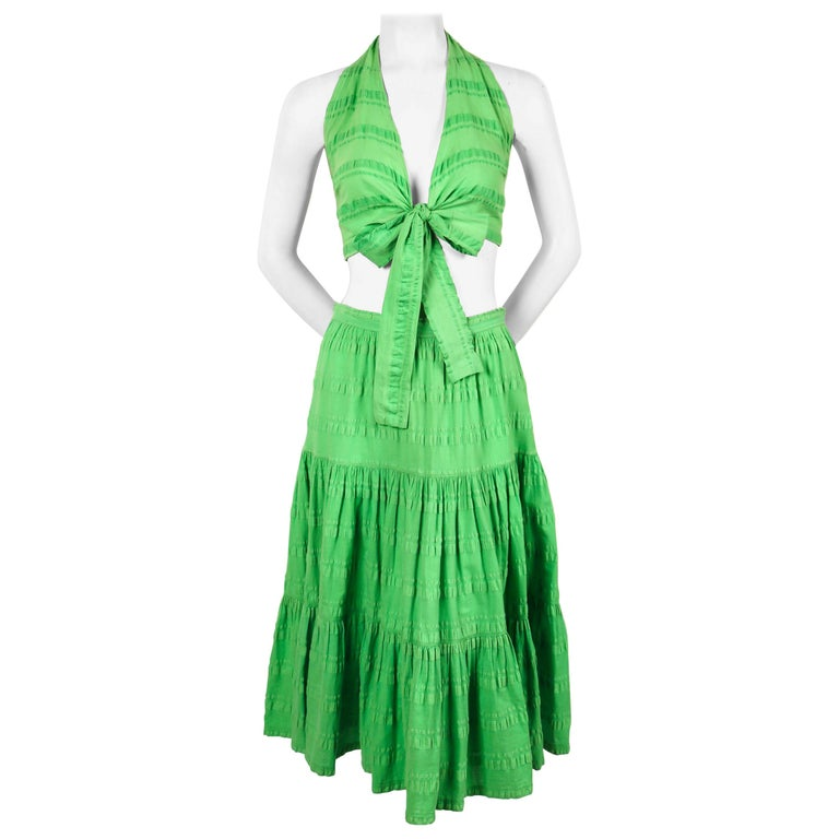 1970's YVES SAINT LAURENT lime green cotton seersucker crop top and tiered skirt For Sale
