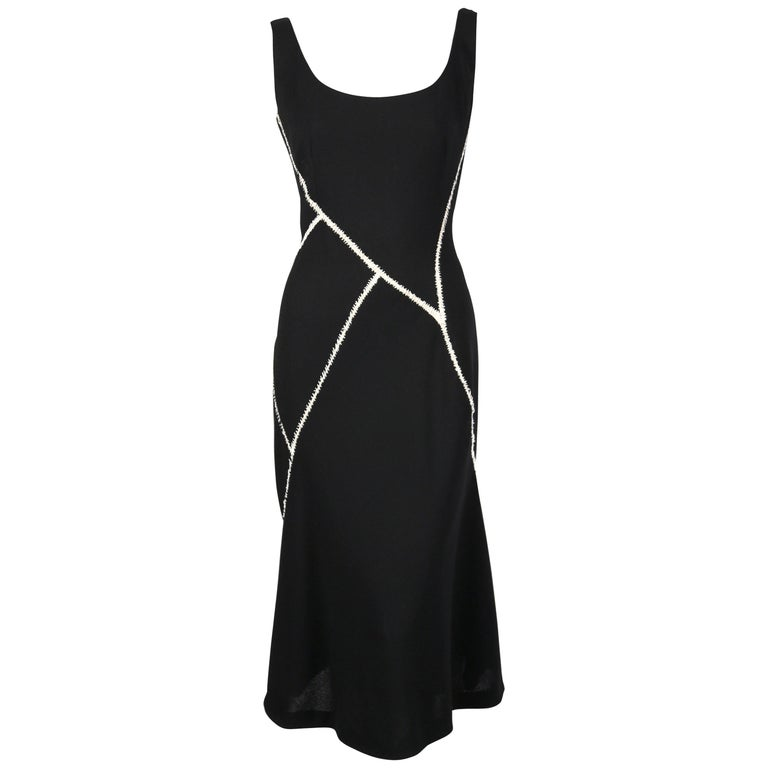 2008 ALEXANDER MCQUEEN black wool dress with white stitching  For Sale