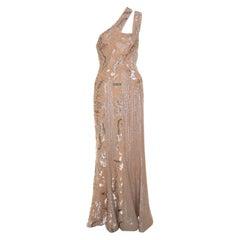 Elie Saab Beige Embellished Petal Detail Sleeveless Gown S