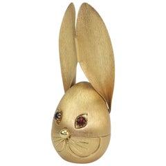 Vintage Napier Gold Tone Rabbit Bank