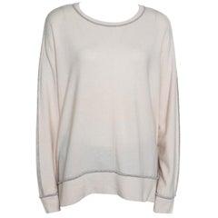 Brunello Cucinelli Cream Cashmere Contrast Piped Dolman Sleeve Sweater XL