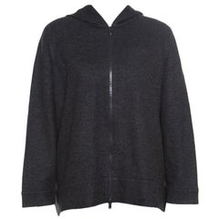 Brunello Cucinelli Dark Grey Cashmere Zip Front Hoodie XXL