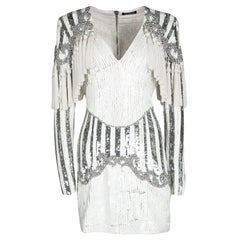 Balmain White Embellished Tassel Detail Long Sleeve Dress S
