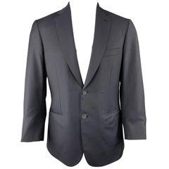BRIONI 40 Short Navy Solid Wool Notch Lapel Sport Coat