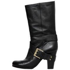 Chloe Black Leather Side Buckle Heeled Boots Sz 37