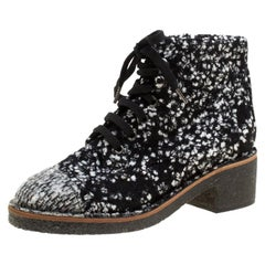 Chanel Monochrome Tweed Fabric Fantasy Lace Up Ankle Boots Size 36