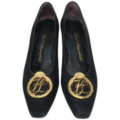 Karl Lagerfeld Black Suede Gold Logo Medallion Shoes Sz 7M, C.1990